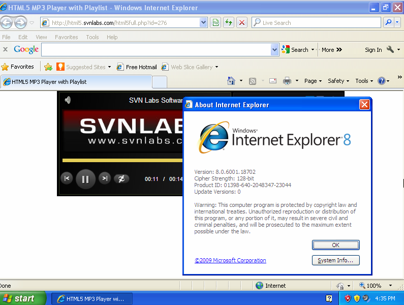 Windows XP IE HTML5 Flash Player Test