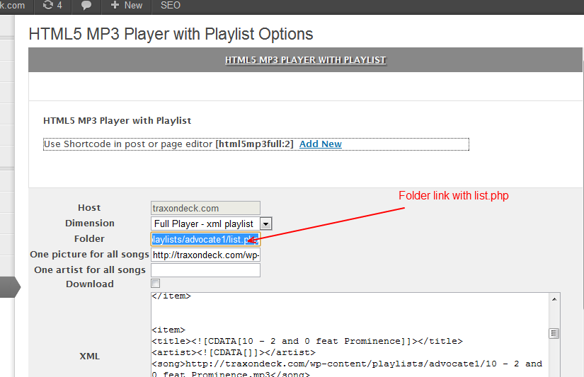 HTML5 MP3 Player Folder Addon