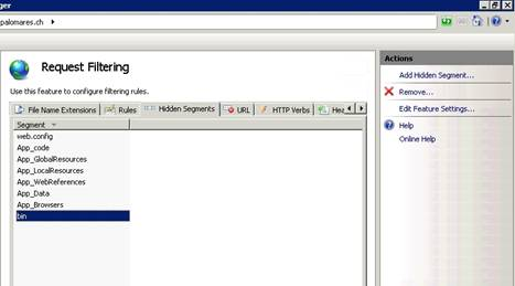 Request filtering IIS Web Server